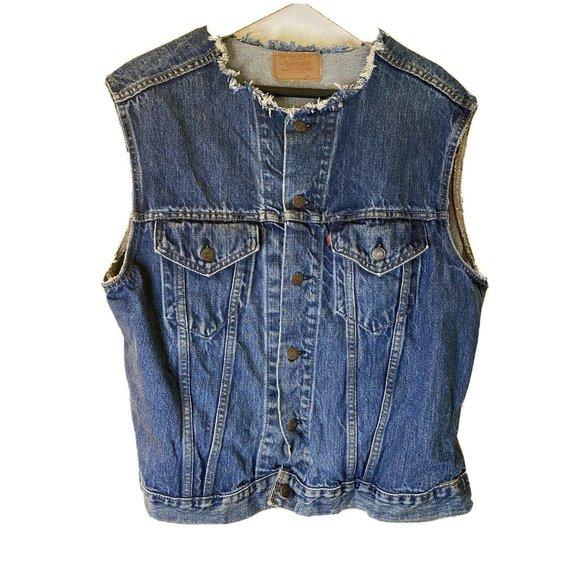 Vintage Unisex Levis Blue Denim Trucker Jacket Cut
